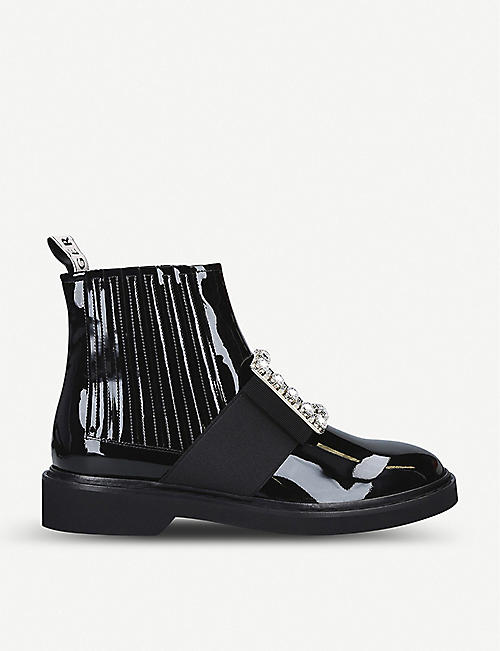 ROGER VIVIER: Chelsea Viv' Rangers Strass Buckle leather ankle boots
