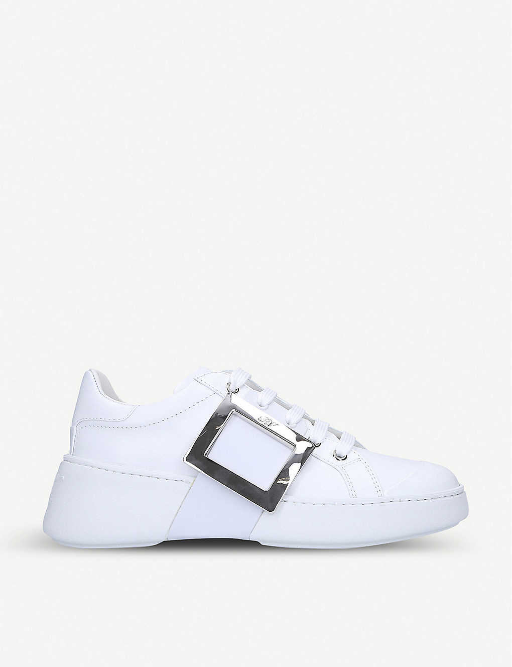Roger Vivier Shoes Viv Skate buckle-embellished leather trainers