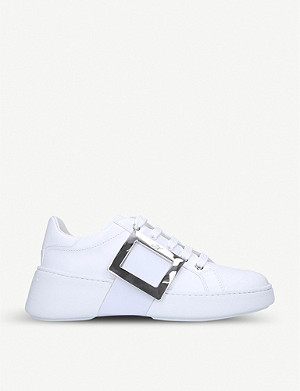 ROGER VIVIER Viv Skate buckle-embellished leather trainers