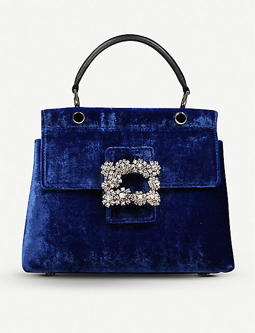 ROGER VIVIER Viv' Flower Strass Buckle Cabas Mini 天鹅绒单肩包