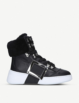 ROGER VIVIER Skate shearling-trimmed leather high-top trainers