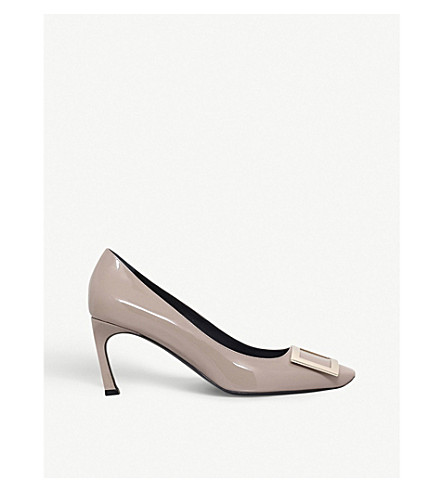 Roger Vivier Belle Vivier Trompette Pumps In Patent Leather In Grey