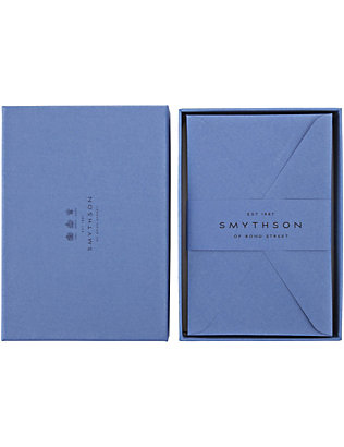 SMYTHSON: Nile Blue King's envelopes box of 25