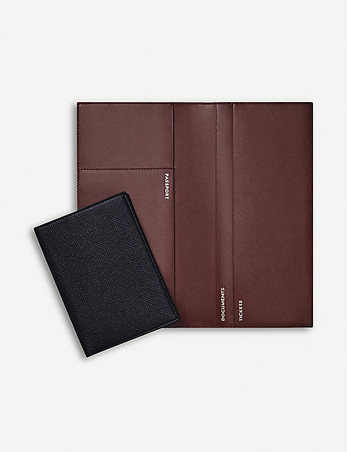 SMYTHSON Panama cross-grained slim leather travel wallet