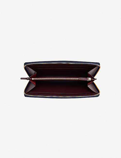 SMYTHSON Panama grained-leather travel wallet