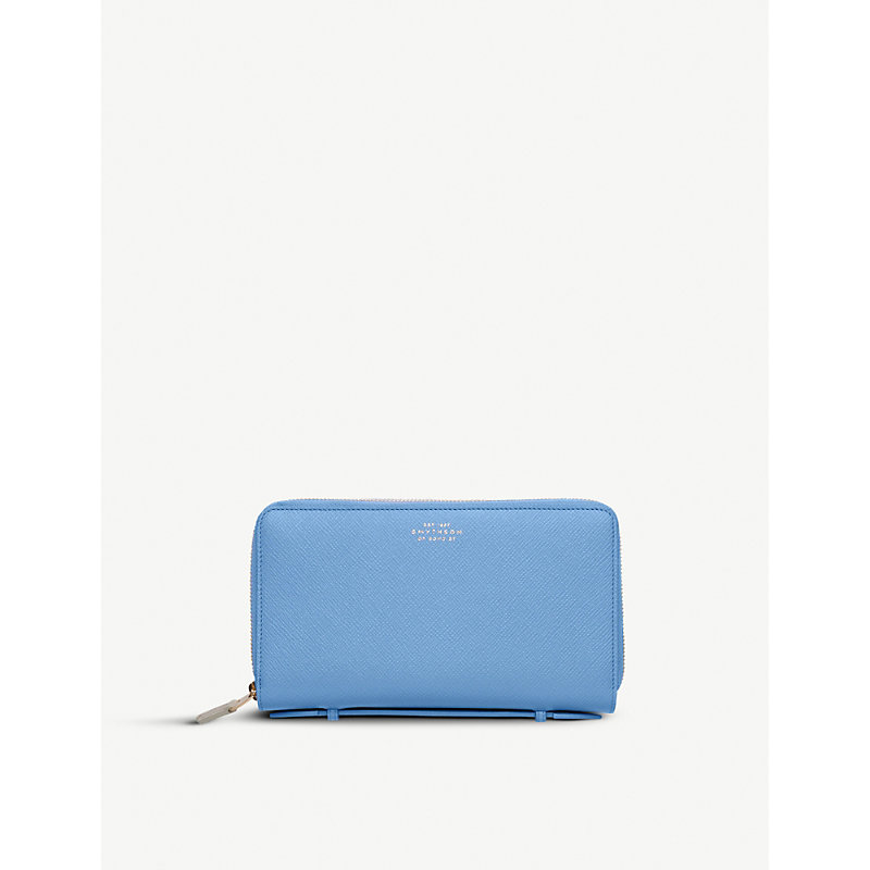 SMYTHSON | Panama Double Zipped Grained-Leather Travel Wallet | Goxip