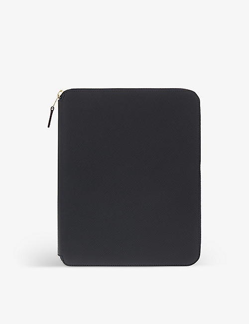 SMYTHSON: Panama leather a5 writing folder 24cm
