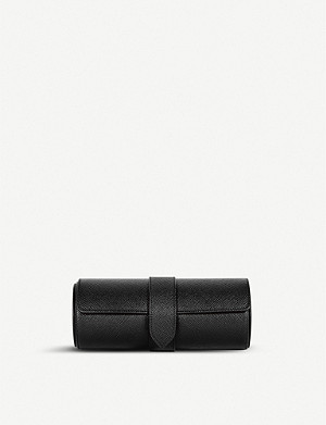 SMYTHSON Panama grained-leather travel watch roll