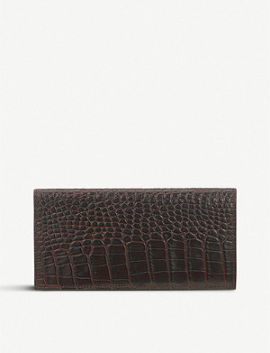SMYTHSON Mara crocodile-emboosed slim coat wallet