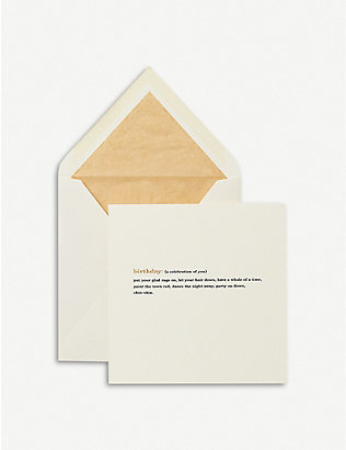 SMYTHSON: Birthday Expressions greetings card 15x15cm
