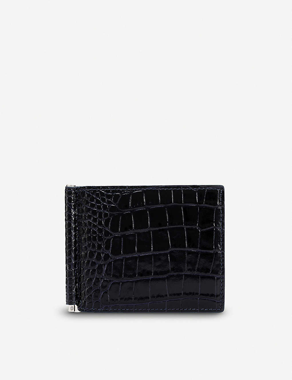 SMYTHSON: Mara croc-embossed leather money clip wallet