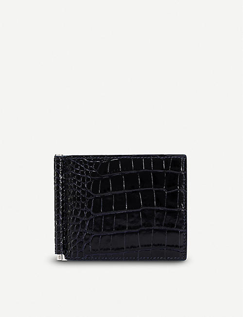 SMYTHSON Mara croc-embossed leather money clip wallet