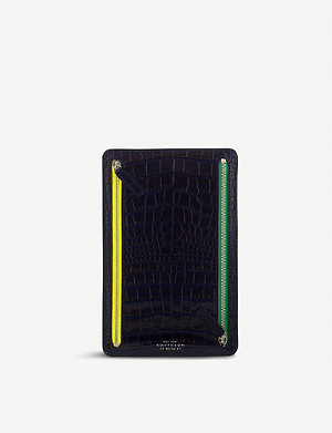 SMYTHSON Mara crocodile-embossed leather currency case