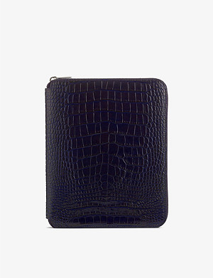 SMYTHSON Mara A5 crocodile-print leather writing folder