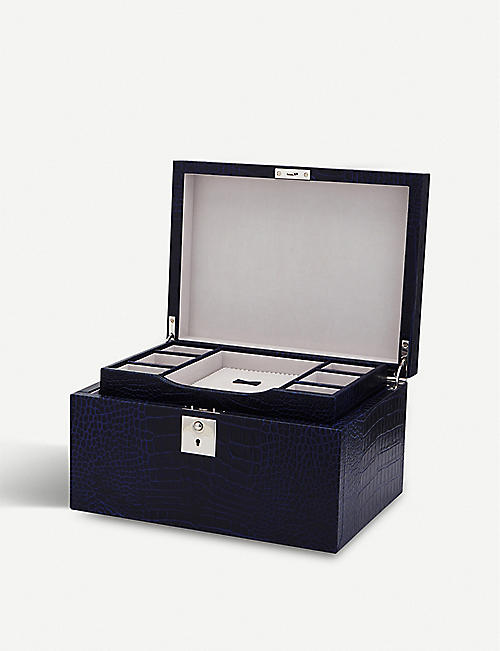 SMYTHSON Mara three-drawer leather jewellery box