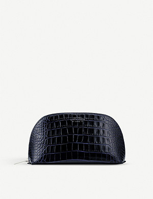 SMYTHSON Mara croc-print leather cosmetics case