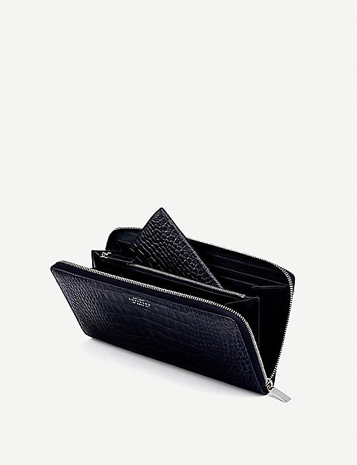 SMYTHSON Mara crocodile-embossed leather travel wallet