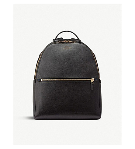 075239a34 SMYTHSON Panama small cross-grain leather backpack (Black