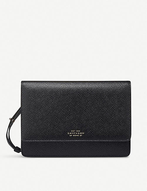 SMYTHSON: Panama cross-grained leather purse with strap