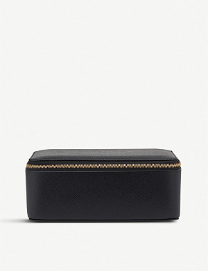SMYTHSON Panama cross-grain-leather square jewellery pouch