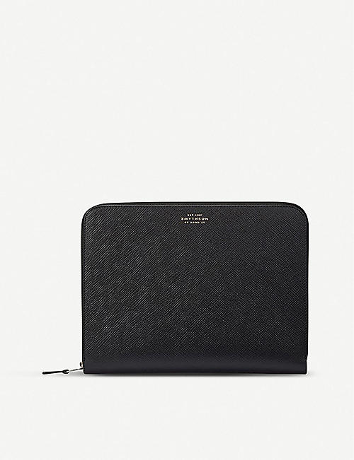 SMYTHSON: Panama cross-grain leather small folio