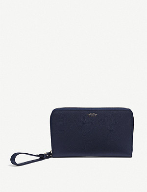 SMYTHSON Panama cross-grain leather Long Haul travel wallet