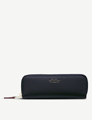 SMYTHSON Panama cross-grain leather double pen case