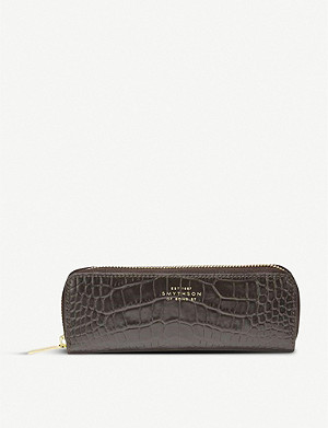 SMYTHSON Mara snake-print leather double pen case