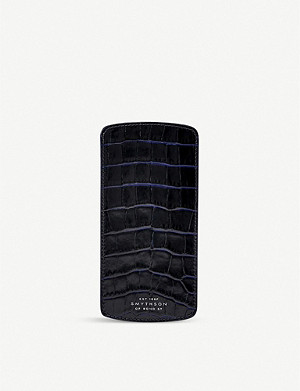 SMYTHSON Mara crocodile-print leather glasses case