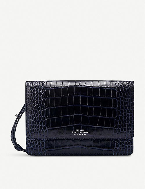 SMYTHSON: Mara crocodile-print leather cross-body purse