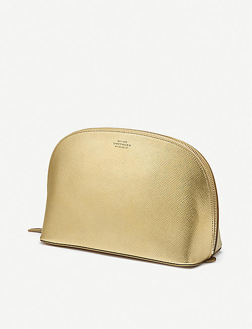 SMYTHSON Panama metallic-leather washbag