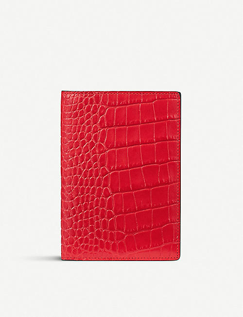 66f5eeaa80e1 SMYTHSON Mara croc-embossed leather passport cover
