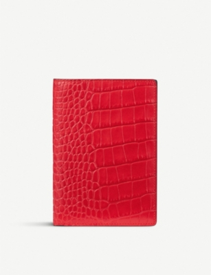 SMYTHSON Mara croc-embossed leather passport cover