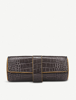 SMYTHSON Mara croc-embossed leather watch roll