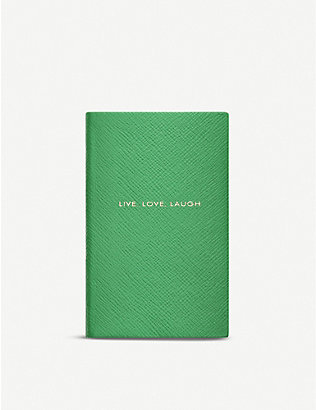 SMYTHSON: Live Love Laugh Panama leather notebook 14x9cm