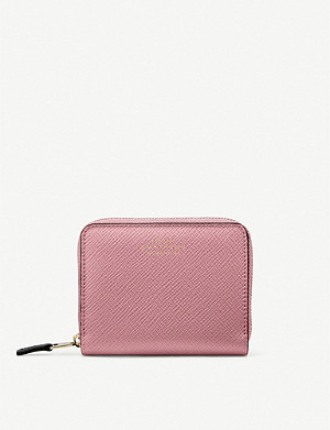 SMYTHSON Panama cross-grain leather coin purse