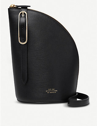 SMYTHSON: Quarter-moon leather shoulder bag