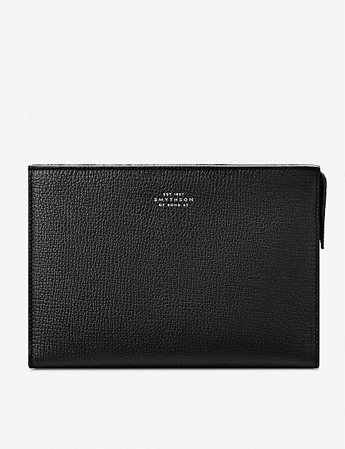 SMYTHSON Grained leather wash bag 14.5cm x 21cm