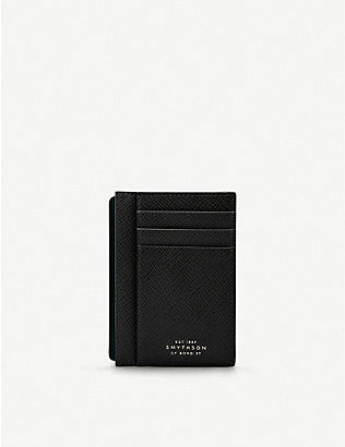 SMYTHSON: Panama cross-grain leather card and note holder