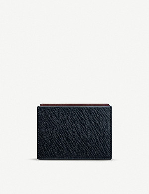 SMYTHSON Panama cross-grain leather card and note holder