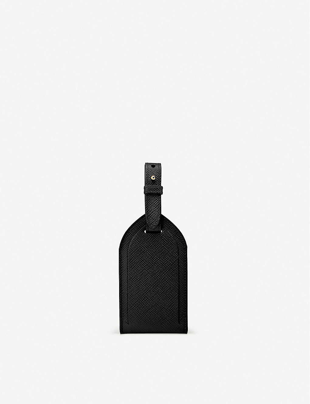 SMYTHSON: Panama edge-dyed leather luggage tag 12.3x6.8cm