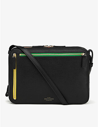 SMYTHSON: Zipped cross-grain leather cross-body bag