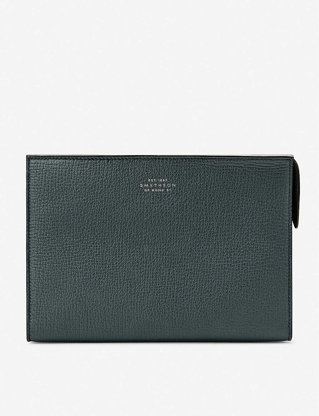 SMYTHSON: Grained leather wash bag 14.5cm x 21cm