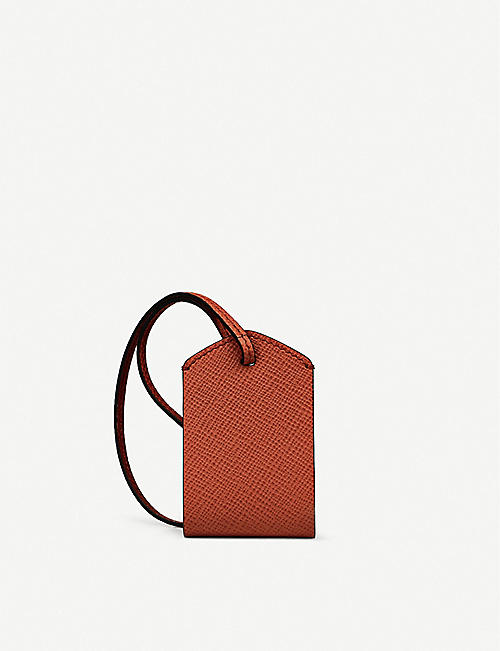 SMYTHSON Grained leather personalisation luggage tag