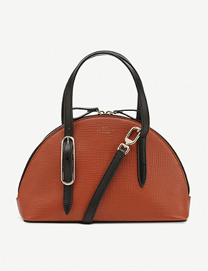 SMYTHSON Half-moon crossgrain leather shoulder bag