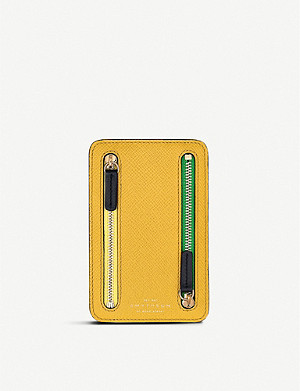 SMYTHSON Panama cross-grain leather zip currency case