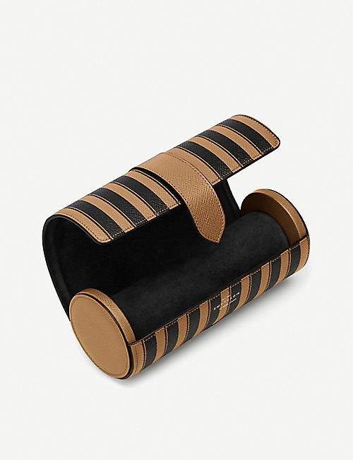 SMYTHSON Panama striped leather travel watch roll