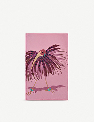 SMYTHSON Panama bird-print leather notebook 19cm x 14cm