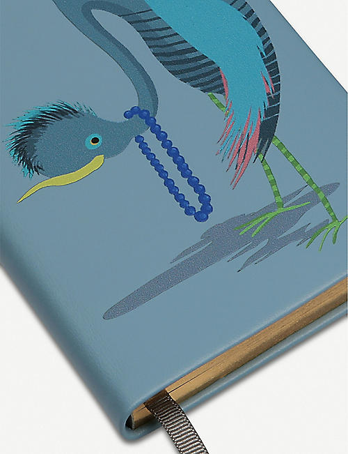 SMYTHSON Panama bird-print leather notebook 14cm x 9cm