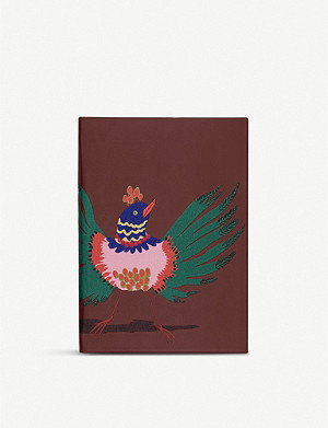 SMYTHSON Soho bird-print leather notebook 19cm x 14cm
